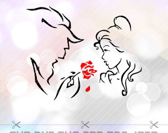 Beauty and the Beast SVG DXF Png Eps Layered Cut File Cricut Designs Silhouette Cameo Party Supply Decorations Vinyl Decal Scrapbooking