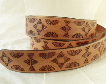 Leather belt 4 cm, pattern Brown, tooled 1