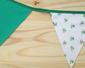 Fir Tree Print Green Fabric Bunting - 2.5m