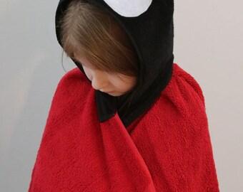 Ladybug Hooded Towel with pockets-child size