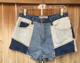 Vintage Highwaisted Jean Shorts, Blue Jean Shorts, Highwaisted Summer Shorts