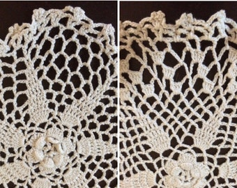 2 Crocheted Ivory Doilies