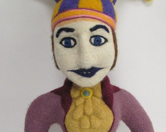 Needle felted Jester. Wool sculpture.