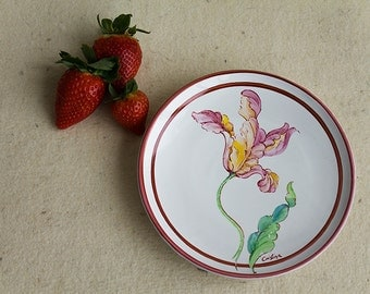 Glazed ceramic dish and hand painted