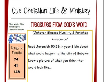Kids OCLAM May 29 - June 4 Prestudy Sheet Our Christian Life & Ministry JW Jehovah's Witnesses Homeschool Family Worship