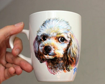 Personalized hand painted mug Pet custom portrait on porcelain dogs tea coffee Gift for dog lovers
