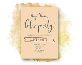 BACHELORETTE PARTY INVITATION, Pink and Grey, bachelorette party, , Party Invitation