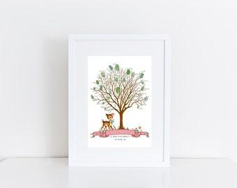 Woodland Baby Shower Guest Book | Little Deer Baby Shower| Baby Shower Thumbprint Guestbook | Thumb Print Guestbook | Fingerprint Tree