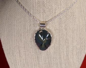 hummingbird rainbow obsidian on 950 sterling silver pendant