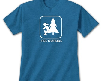 I Pee Outside Female T-Shirt, Funny Camping Hiking Exploring Humor For Outdoor Nature Lovers Potty Joke Bathroom Symbol With Lady and Tree