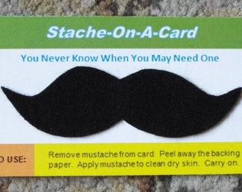 Stache -On-A Card, Adhesive Felt Mustache, Adhesive Mustache, Stick On Mustache, Fake Mustache, Mustache Party Favour