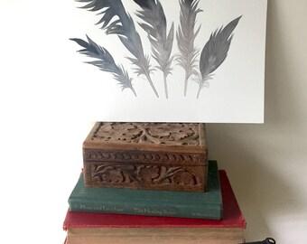 Crane Feathers, Original Watercolor Painting