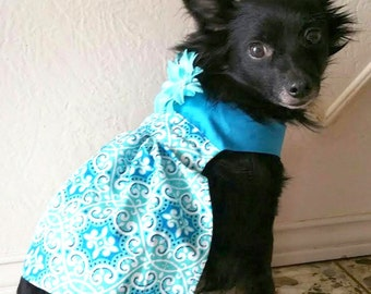 Cotton Pleated Dog Dress/3 Sizes/Adjustable Fit/Variety of Patterns & Colors