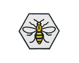Hexagon Manchester Worker Bee Iron On Patch Embroidery Sewing DIY Customise Denim Cotton Hipster Northern Quarter Save the Bees