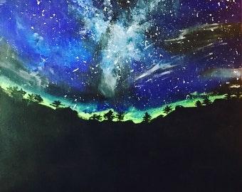 ORIGINAL Acrylic Landscape Painting - Solitude (acrylic, canvas, painting, space, galaxy, surreal, fantasy)