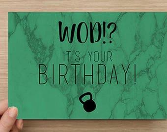 WOD!? it's your birthday! Crossfit  verjaardagskaart | Crossfit birthday card
