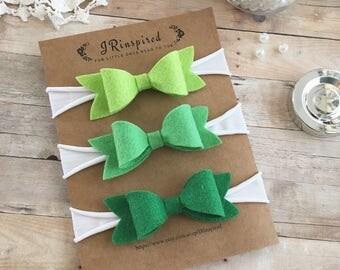 Baby Felt Headband, Baby Wool Blend Felt, Bow, Felt Bow, Green, Dark Green, Springtime bows