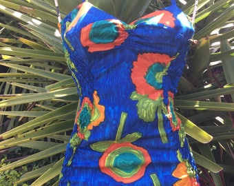 High Summer Colour 1950's Bathing Suit in Abstract Floral Print ...
