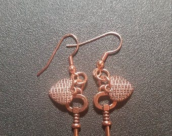 Bright Copper Heart and Key Dangle Earrings