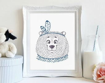 Tribal Bear Print, Nursery Print, Animal Art, Bear Print, Wall Art, Printable Art, Printable Wall Décor, Instant Download, Digital Print