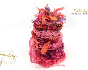 Cuddle Bug Fiber Art Yarn. 16 Yard Novelty Yarn, Ribbon and Art Fiber Bundle.