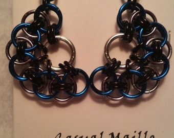 Royal Blue/Black Ice/Black Chain Maille (Helm Half Flower) Earrings