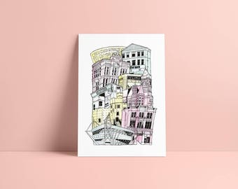 Cardiff A4 Illustrated Stacking cityscape print