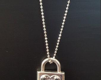 Sterling silver heart shaped lock