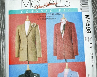 McCall's M4598 Classic Fit Jackets Palmer/ Pletsch Perfect Fit Suit Coat Sewing Pattern 4598 UNCUT Plus Size 8, 20, 22 and 14