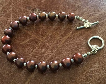 Coffee cultured pearl and white seed bead bracelet