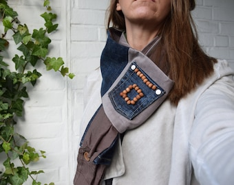 Pocketful of Beads Centerpiece Scarf with denim, corduroy, and cotton