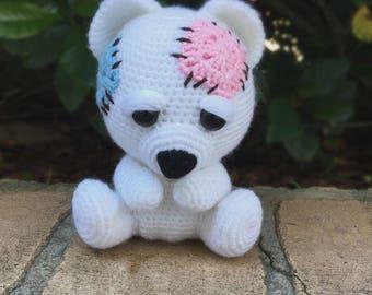 Teddy bear plush toy-Crochet bear-patchwork bear-plushies-crochet toy-stuffed toys