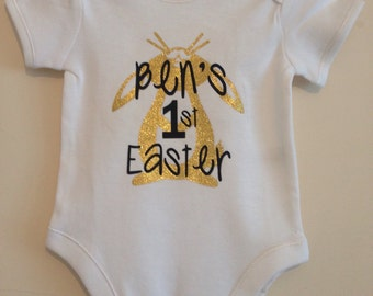 Baby first easter etsy first easter personalised name easter metallic bunny baby body gorgeous gift idea custom made personalised bodysuit negle Image collections