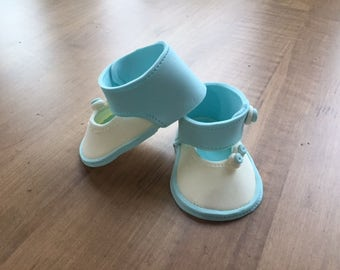 Baby boy' gumpaste shoes cake topper. 3D, hand crafted, baby shower, birthday cake topper.