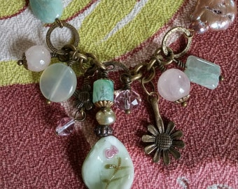 Pastel Green and Pink Glass Pendant Necklace