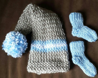 Long Tail Hat and matching baby booties