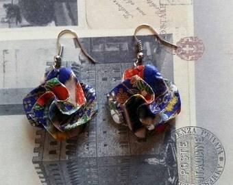 Dark Blue Origami Paper Earrings