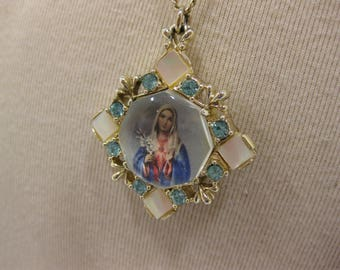 Vintage Ornate Reversible Mary and Jesus Pendant Necklace With Rhinestones and Mother of Pearl Accents