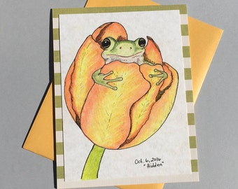 Frog in Tulip, original art greeting card