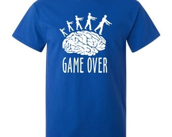 Game over zombies walking on brain geek blue t-shirt