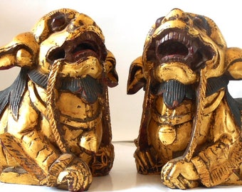 Antique Giltwood Taiwanese Temple Lions (Pair)