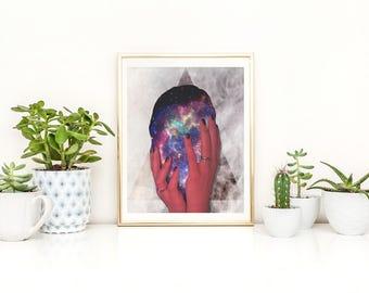 Brain Print - Body Artwork - Self Portrait Print - Brain Art