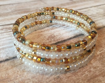 Gold and White Czech Glass Bead Bracelet, Memory Wire Bracelet, Beaded Bracelet, Wrap Bracelet, Gift for Her