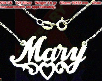 MARY .925 Handcrafted Sterling Silver Personalized Pendant Custom