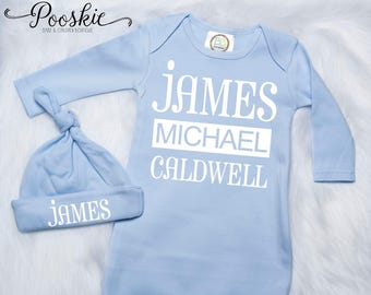 Baby Boy Coming Home Outfit, Blue Baby Boy Gown, Custom Name Baby Outfit, Blue Baby Outfit, Baby Shower Gift for Boy, Boy Gown & Hat Set P47