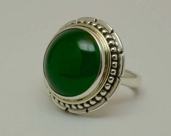 Jadeiet, silver 925, 14 carat gold hand crafted ring.