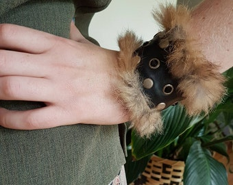 Studded Leather & Fur Cuff- handmade