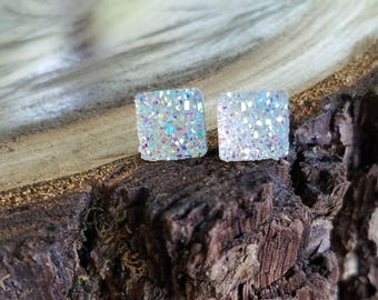 10mm Iridescent square druzy stud earrings | Rainbow | posts | sensitive ears