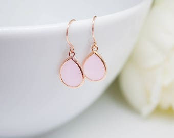 Earrings rose gold drops pink