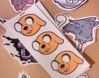 Sticker Set 01 April 2017 5xStickers Jake the Dog, Originals, Moose, Smoking Wolf, Bones.
